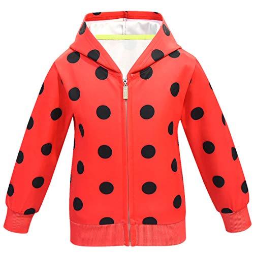 wetry Marienkäfer Kostüm,Ladybug Kostüm Mädchen Cosplay Ankleiden Halloween Karneval Fasching Kostüme Verkleidung kinderkostüm Jacke/130