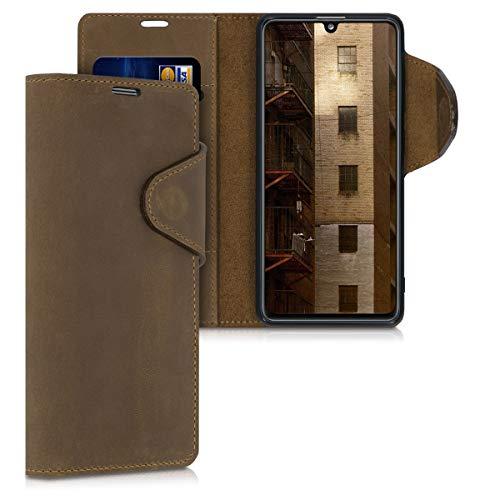 kalibri Wallet Hülle kompatibel mit Samsung Galaxy A41 - Hülle Leder - Handy Cover Handyhülle in Braun
