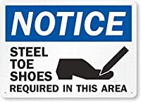 安全標識-注意:鋼のつま先の靴が必要です。 インチ金属錫サインUV保護および耐候性、通知警告サイン