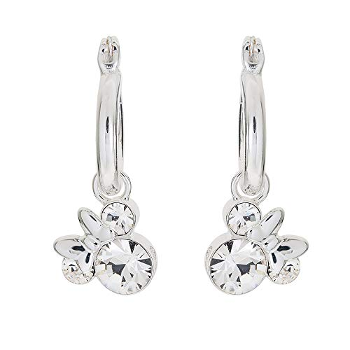 Disney Minnie Mouse Silver Plate Brass Crystal April Birthstone Hoop Earrings