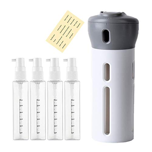 Botellas de loción Viaje, Juego de Botellas emulsión de Vacío, Recargable envase Giratoria Líquido dispensador (Gris)