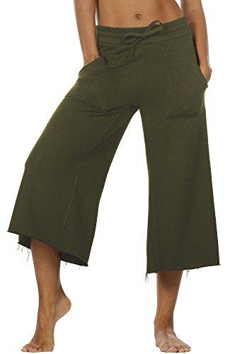 icyzone Damen Lose Weites Bein Hose Elastische Taille Hosenrock Capri Pants Freizeithose (L, Grün)