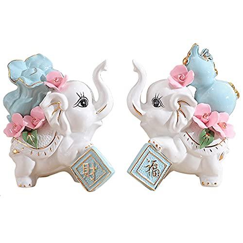 DERUKK-TY Estatua de Elefante Feng Shui, Figuras de Prosperidad de Animales de la Suerte, esculturas, decoración del hogar de la Sala de Estar, Regalos, un par, Conjunto
