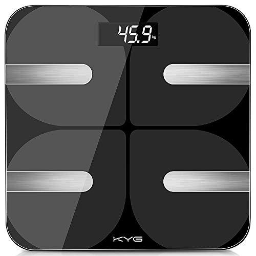 KYG Körperfettwaage Bluetooth Personenwaage Smart Digitale Waage mit App Körperanalysewaage für Körperfett BMI Gewicht Muskelmasse Körperwasser Skelettmuskel Knochengewicht bis 180 kg Schwarz