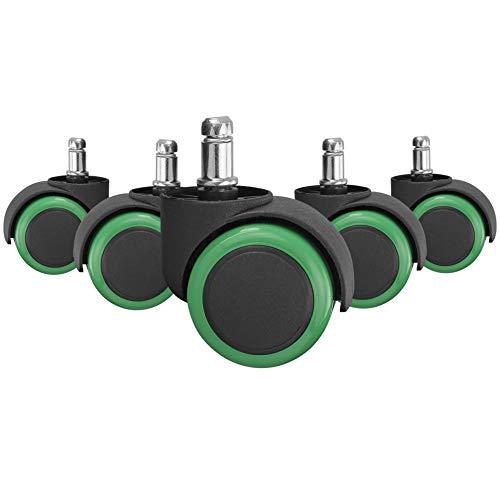 AMSTYLE Hartbodenrollen 5er Set Rollen für Bürostuhl Grün / Schwarz Stift 11mm/Durchmesser 50mm Parkettrollen für Parkett Laminat Linoleum Drehstuhlrollen Stuhlrollen für harte Böden