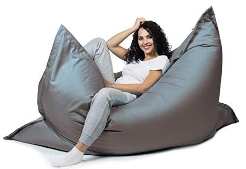 sunnypillow XL Sitzsack, Riesensitzsack Outdoor & Indoor 100 x 150 cm mit 140L Styropor Füllung Sessel für Kinder & Erwachsene Sitzkissen Sofa Beanbag viele Farben und Größen zur Auswahl Anthrazit