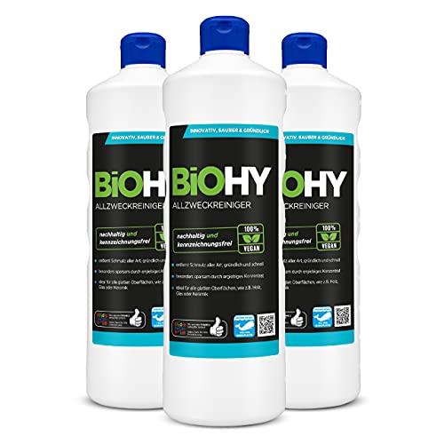 BiOHY Limpiador multiuso, Limpiador de alcohol, Limpiador universal (3 botellas de 1 litro) | Limpiador Profesional de Mantenimiento - Producto de Limpieza ecológico (Allzweckreiniger)
