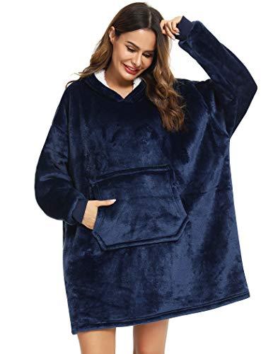 YEPLINS Sherpa Hoodie Sweatshirt Decke,Plüsch Pullover Decke mit Kapuze,Übergroße Decken Hoodie Kapuzenpullover Damen Blanket Hoodie, Blau, Einheitsgröße