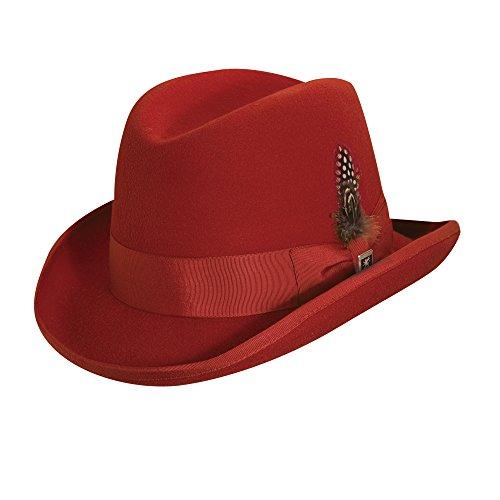 Stacy Adams Men's Wool Homburg Comfort Hat L Red