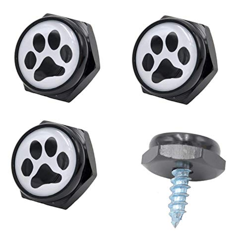 Cutequeen Black License Plate Frame Bolts Screws Metal with Black Paw(Pack of 4) (Black Paw)