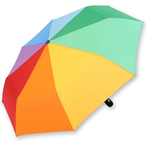 iX-brella Mini Regenschirm Rainbow - Taschenschirm mit Auf-Zu-Automatik - Regenbogen - 97cm Durchmesser