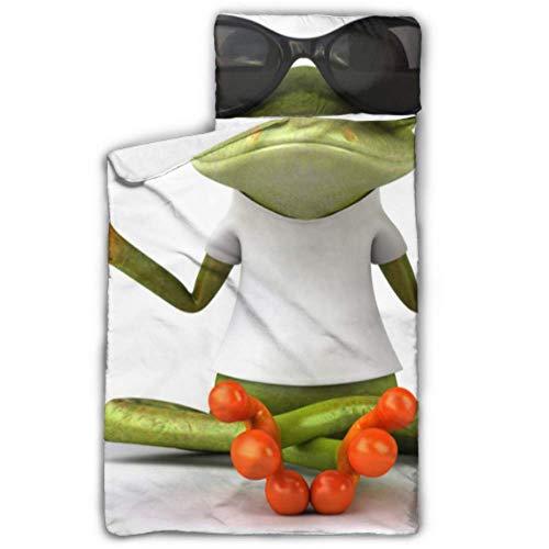 Divertente Tree Frog Meditazione Yoga Frog Sacco a pelo per bambini Bambini Tappetino per pisolino con coperta e cuscino Design avvolgibile Ottimo per asilo nido per bambini in età prescolare 50 'x20