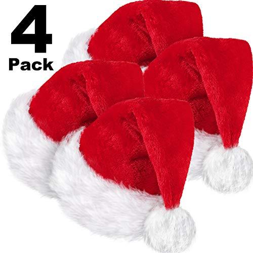 SATINIOR 4 Packungen Weihnachtsmütze, Unisex Weihnachtsmütze aus Samt mit Komfortfutter und Plüschkrempe Rote Weihnachtsmütze für die Erwachsenenparty am Neujahrstag