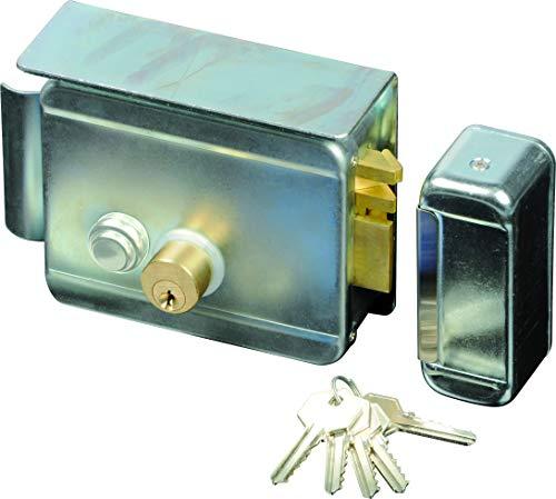 SCS SEN4131198 - Cerradura eléctrica (con pulsador en el interior, carcasa cincada con cilindro)