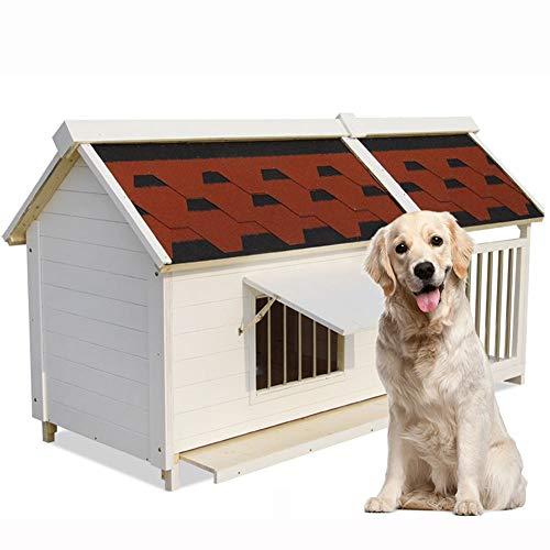 Hundehütte Outdoor Zwinger Bequeme Holz Pet Kennel Mit Balkon Hundehaus Wasserdichte Haustier Shelter Ziehbar Bodenplatte For Den Außeneinsatz Verschiedene Größen Y (Size : 2XL)
