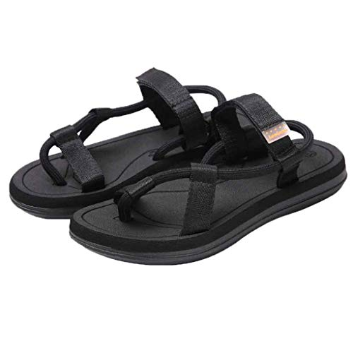 Womens Open Toe Beach Sandals Rome Slippers,Casual Slip-On Breathable Flats Double Straps Sandals Shoes Size 5-7.5 (Black, US:9.5)