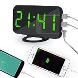 BB67 - Reloj Despertador Digital LED con Puerto USB para Cargador de teléfono, Activado por Contacto