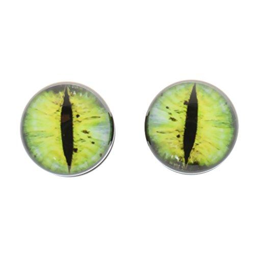 P Prettyia Paar Unisex Punk Cat Eye Ohrstöpsel Gelb Eye Gauges Expander Stretcher Piercing - 6mm