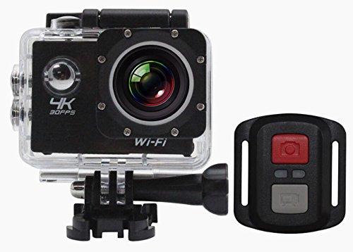 HaoYiShang 4K WiFi Sports Action Camera Ultra HD Caméscope DV imperméable à l'eau 12MP Grand Angle Grand Angle 2 pouces LCD 2.4G télécommande (Noir)