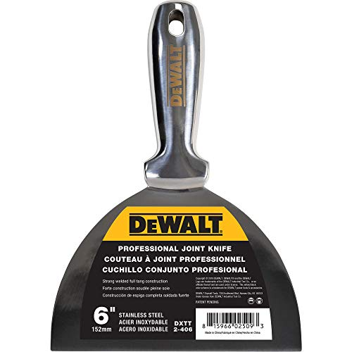 DEWALT 6' All Stainless Steel Joint Knife | One-Piece Premium Polished Metal Putty Blade | 2-406