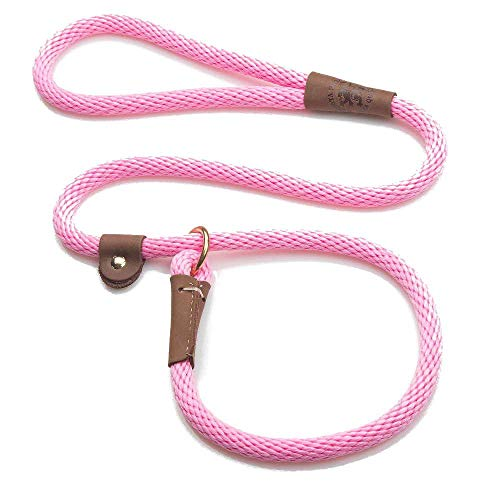 Mendota Pet Slip Leash - Dog Lead and Collar Combo - Made in The USA - Pink, 1/2 in x 6 ft - for Large Breeds