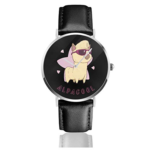 Unisex Business Casual Alpacool Alpaca Uhren Quarz Leder Uhr mit schwarzem Lederband für Männer Frauen Young Collection Geschenk