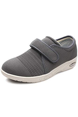 DENACARE Women's Diabetic Shoe with Wide Width Velcro Closure Lightweight Memory Foam Grey