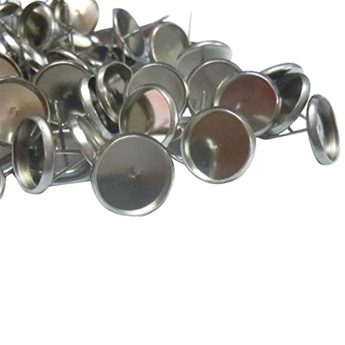 UNICRAFTABLE 200 stks RVS Platte Ronde Oor Stud Componenten Platina Oorbel Posts Oorbel Instelling voor Oorbel Making(Lade: 8mm; 10mm, Pin: 1mm)
