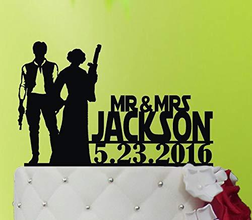 Decoración para tarta de boda de Star Wars, decoración para tarta R2D2, monograma, decoración para tarta de boda, decoración personalizada para tarta M1014