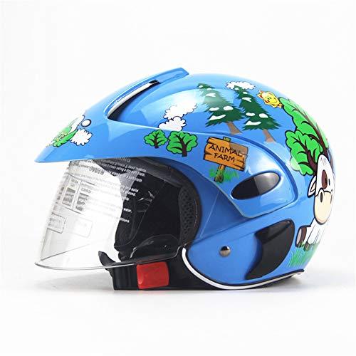Kinderhelm mit Schild, Jungen Mädchen süße Kuh Muster Fahrradhelm, Fit 2-9 Jahre,Blue