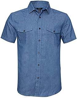 AVANZADA Men's Big & Tall Fort Short Sleeve Denim Shirt Lightweight Chambray ButtonDark Blue - Blue - 3X-Large