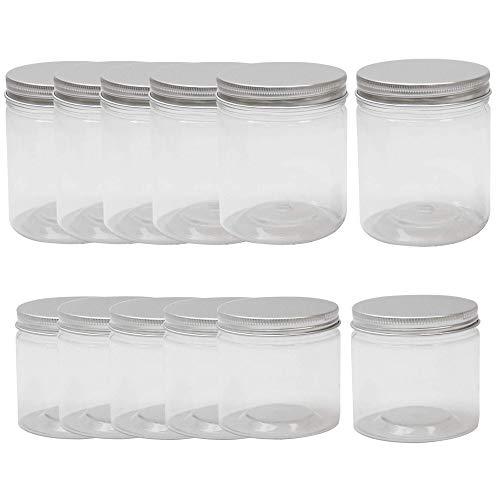 Conjunto de 12 contenedores de plástico | Almacenamiento de alimentos y despensa | Especias y tarros dulces | Tarros de plástico con tapa sin BPA | Contenedores de almacenamiento transparentes | Pukkr