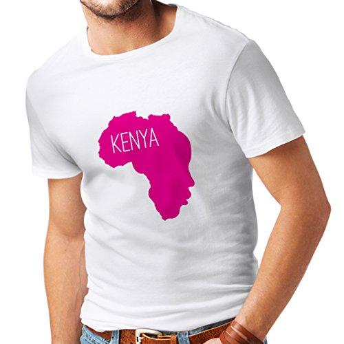 Camisetas Hombre Salvar Kenia - Camisa política, Refranes de la Paz (Large Blanco Magenta)