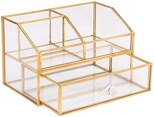 ZLYY Caja de almacenamiento cosmético – Organizador de maquillaje – Vintage pincel dorado de metal y cristal – con 1 cajón organizador de cosméticos – Caja de almacenamiento de escritorio