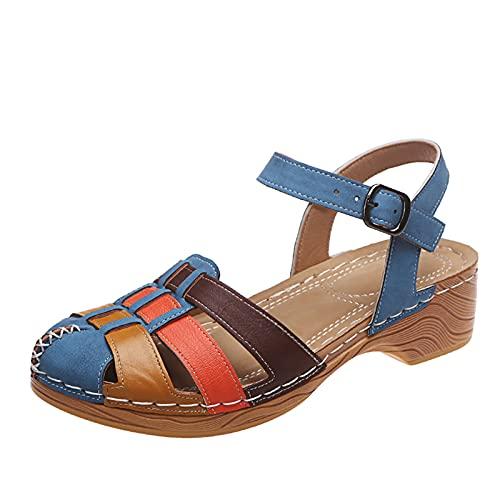 Damen Sandalen Riemchensandale Sandalette aus Holz Closed Toe Slingback Sommer Sandals Freizeitschuhe(1-Mehrfarbig/Multicolor,42.5) 1638