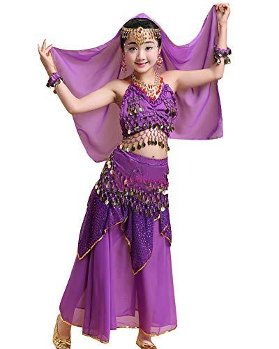 Kinder Mädchens Damen Tanzkleid Top Rock Indische Bauchtänzerin Kostüme Dunkelviolett L Höhengeeignet 120-135CM