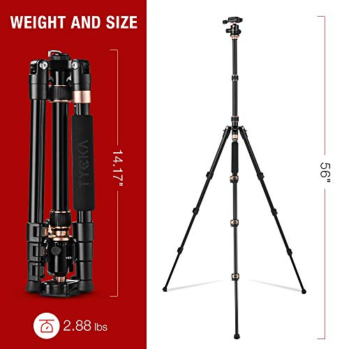 """TYCKA Rangers 56"""" Compact Travel Tripod, Lightweight Aluminum Camera Tripod for DSLR Camera with 360° Panorama Ball Head and Carry Bag"""
