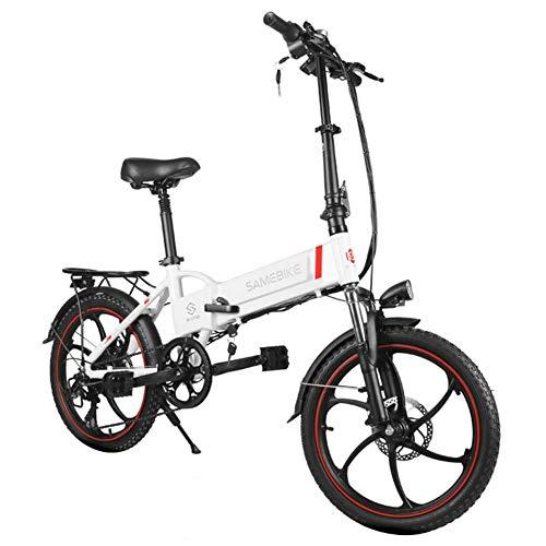 LCLLXB Bicicleta De Ciclomotor EléCtrica Plegable Inteligente para Exteriores Bicicleta EléCtrica 350w Motor 8ah BateríA Carga MáXima 120 Kg NeumáTico De 20 Pulgadas Velocidad MáXima De 35 Km/H,White
