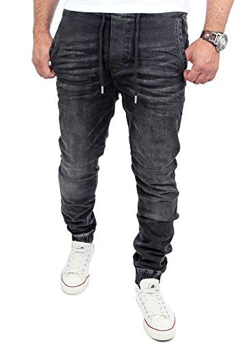 Reslad Jogging-Jeans Männer Freizeit-Hose Casual Style Jeans Jogginghosen Herren Slim Fit Jogger Sweathose Hose RS-2071 Schwarz S