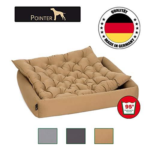 Pointer Set – Hundebett mit Hundekissen, orthopädisch, weicher Rand, formstabil, kratzfest, einfache Reinigung, Trockner geeignet - waschbar im Ganzen bei 95°C - Premium Qualität - Größe,Farbe wählbar