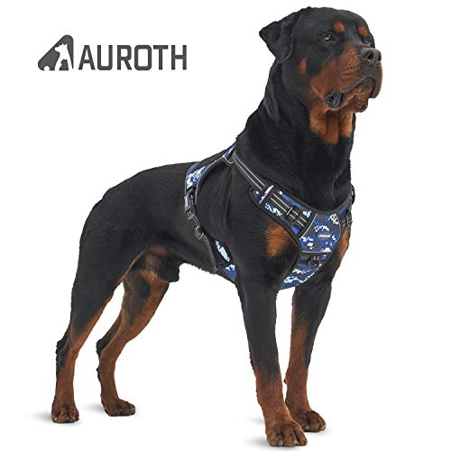 "Auroth Tactical Dog Training Harness No Pulling Front Clip Leash Adhesion Reflective K9 Pet Working Vest Easy Control for Small Medium Large Dogs (L(Neck:20~24"",Chest:23~32""), Blue Camo)"