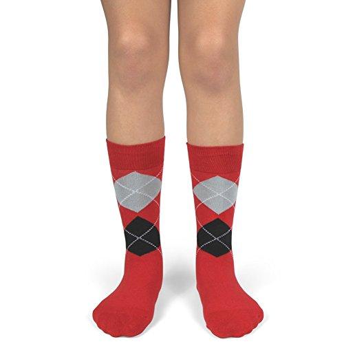 Spotlight Hosiery Junior's Groomsmen/Ring Bearer Wedding Argyle Dress Socks-Red/Black/ Light Grey