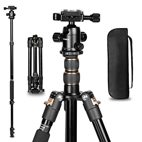 "GWNNSH Camera Lightweight Travel Tripod, 58"" Detachable Monopod, Aluminum Ball Head Stand 3 X Control Knobs with calibration, DSLR QR Plate, Level Indicator, Flip Lock Design. DARE TO COMPARE"