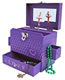 My Tiny Treasures Box Co Love Ballerina Music Jewelry Box - Purple Three Drawers with Hearts Pink Trim and Mirror