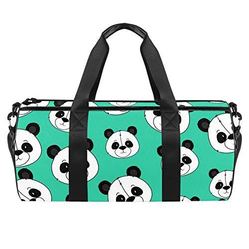 TIZORAX Bolsa de deporte impermeable para gimnasio con diseño de oso panda con cabeza de viaje, bolsa de viaje para gimnasio y seco para mujeres y hombres