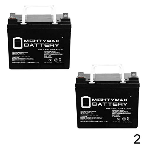 Mighty Max Battery 12V 35A Pride Mobility Jazzy 610 Wheelchair Replacement Battery - 2 Pack Brand Product