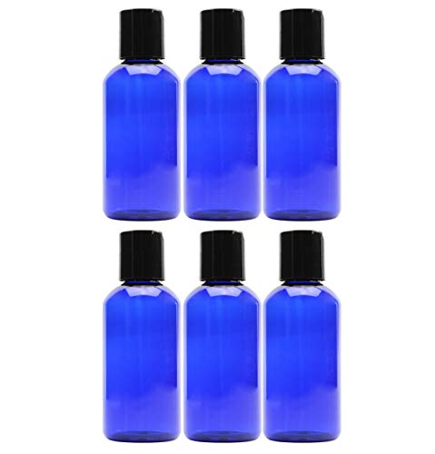 4oz Empty Cobalt Blue Plastic Squeeze Bottles with Disc Top Flip Cap (6 pack); BPA-Free Containers For Shampoo, Lotions, Liquid Body Soap, Creams (4 ounce, Cobalt Blue)