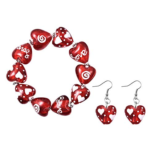 TJC Heart Stretchable Bracelet for Women Size 7 Inches Red Murano Glass and Simulated White Cubic Zirconia