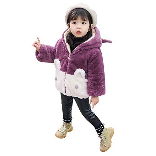 Baby flickor plyschkappa fuskpäls kappa vinterjacka barn härlig kanin huvtröja ytterkläder huva jumper lapptäcke tecknad vinterrock tjock varm kappa 90-140