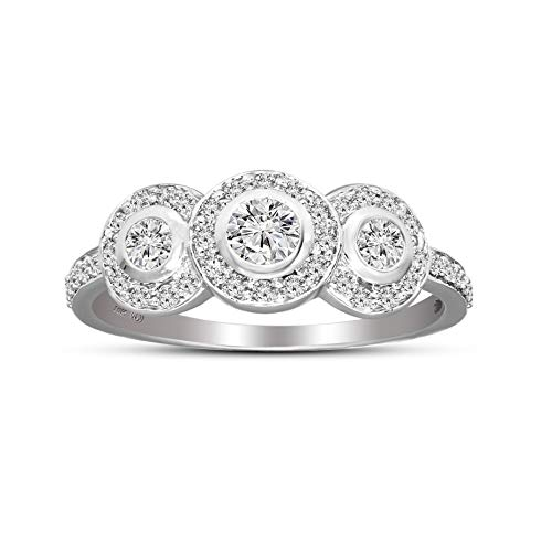 IGI Certified Lab Grown Diamond Ring 925 Sterling Silver 3/8 carat Lab Created Diamond Halo Engagement ring For Women ( 3/8 CTTW, FG Color, SI2-I1 Clarity Diamond Jewelry For Women)